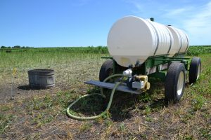 Closer view of the gravity fed mobile water tank setup