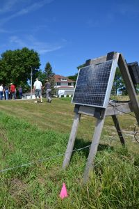 The solar panel powering the Blairs' portable electric fence