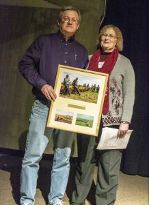 Doug Alert and Margaret Smith with pfi sustainable agriculture achievement award
