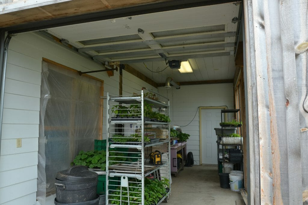 The roller cart in the germination room