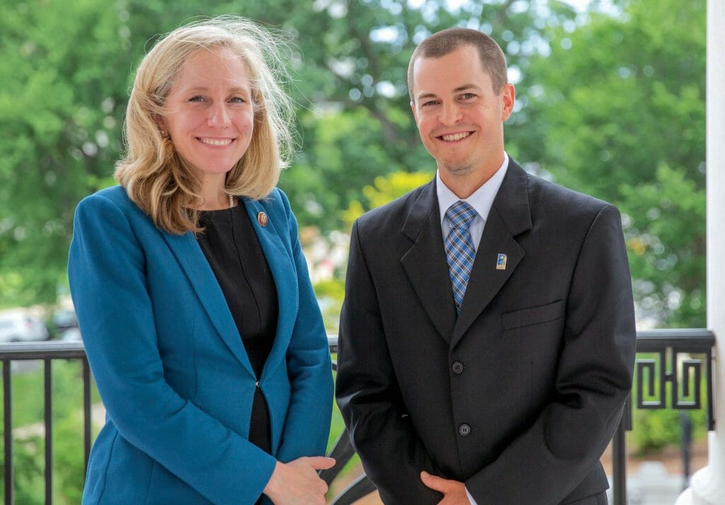 Nathan Anderson with U.S. Representative Abigail Spanberger, chair of House ag subcommittee