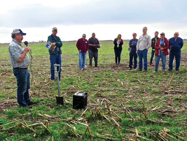 Rob Stout speaking at Iowa Learning Farms field day