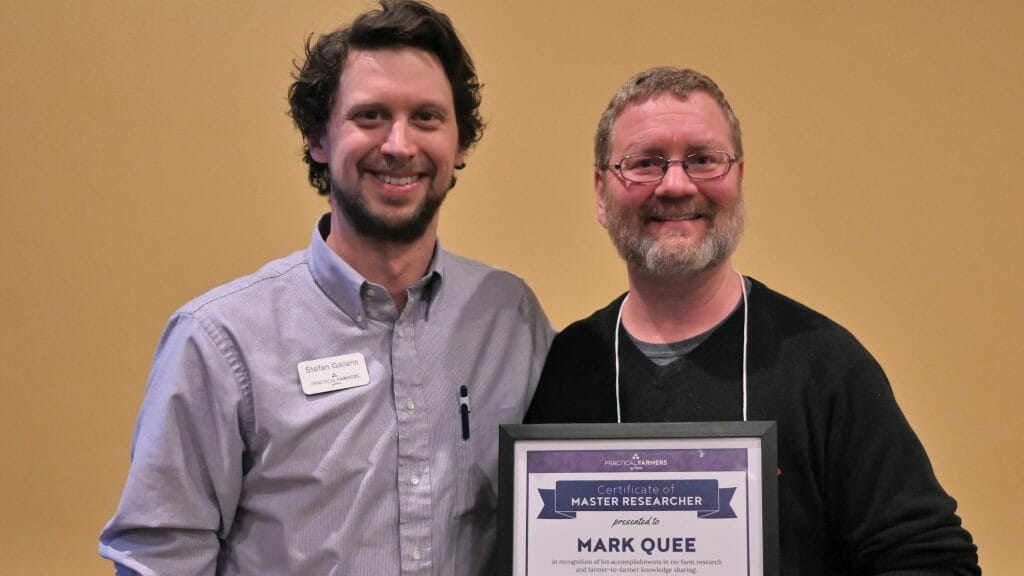 Stefan Gailans, left, with Mark Quee, recipient of 2019 Master Researcher Award