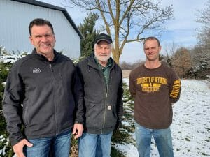 From left to right John Burger (grain producer), Richard Burger (landowner), Craig Swaby (beef producer)