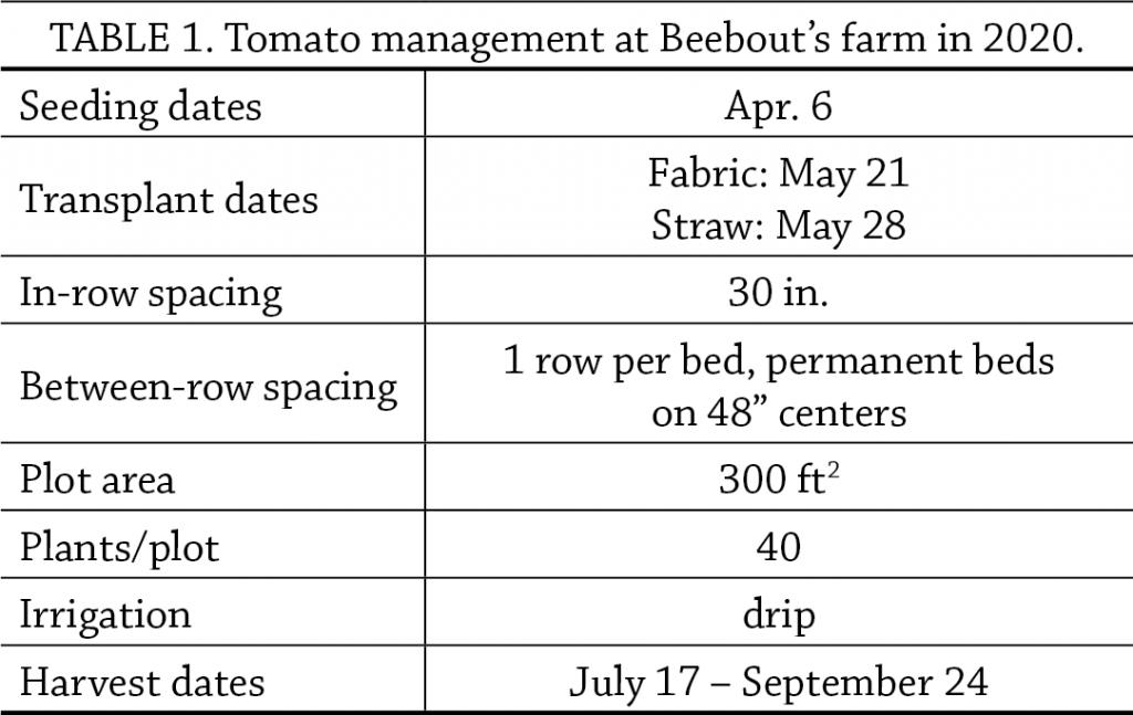Landscape fabric vs. straw mulch tab 1