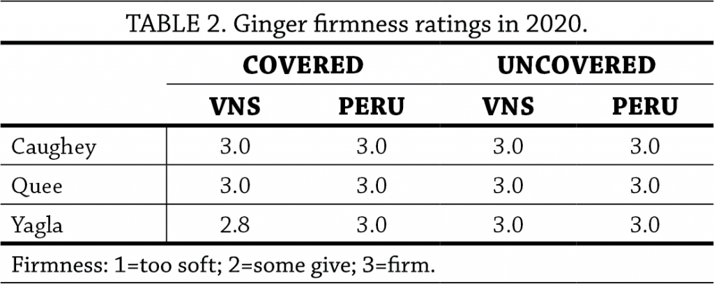 Ginger trial table 2