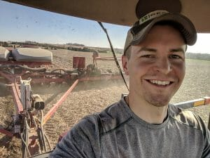 Nathan Anderson in tractor cab submitted by him