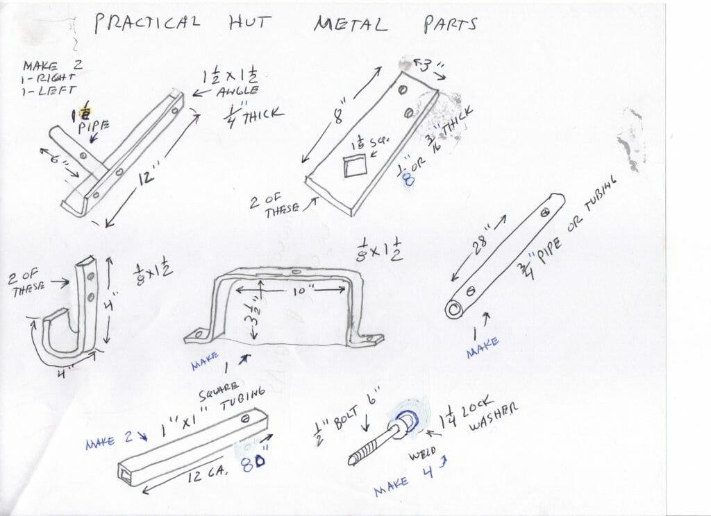 Hut metal parts
