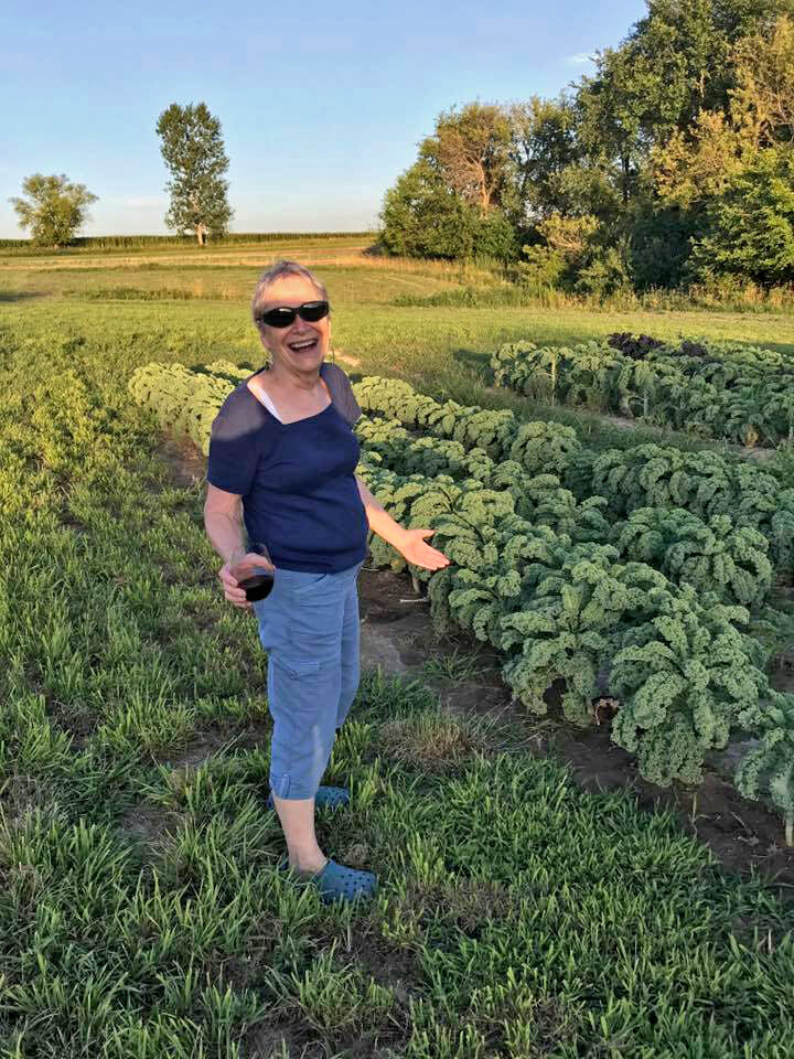 Shirley Smalley toasting the kale