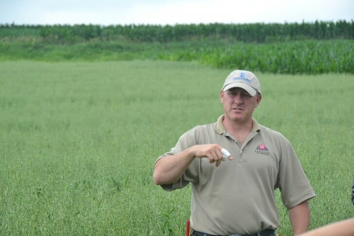 David Carbaugh speaks at his recent field day.