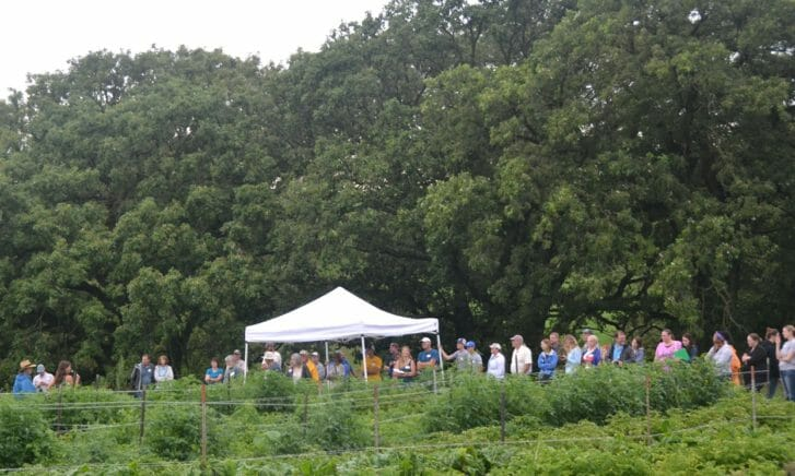 Attendees toured through the fields at One Farm as the drizzle came to an end.