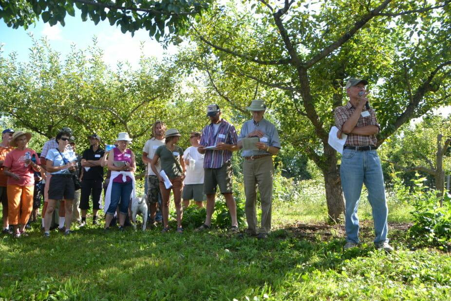 David Sliwa addresses the crowd under a fruiting group of Summercrisp pears.