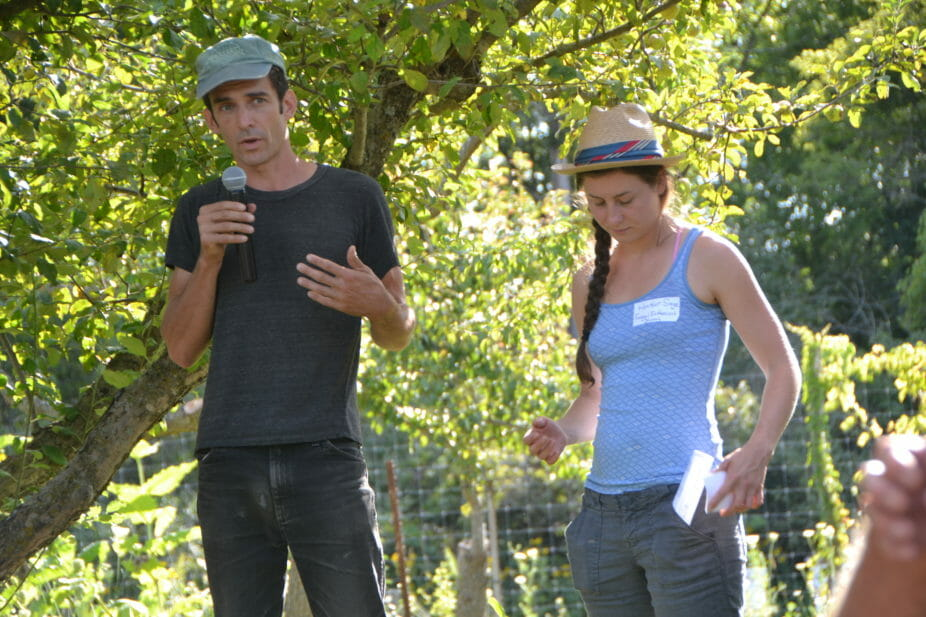 Conor Murphy and Heather Sage discussed the role of fungi in the orchard, including inoculating with mycorrhizae, and using duff collected from local woods. The duff (which David regularly digs up from under trees in the woods) has mycelium and spores that could be symbiotic with the pear trees.