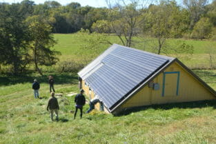 Solar panel system at the farm of Tom and Maren Beard.