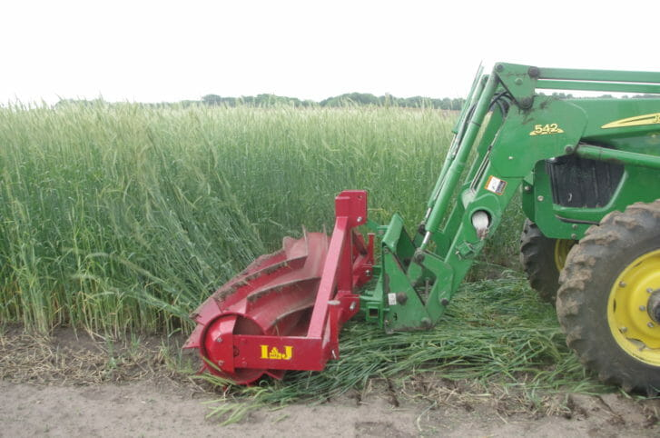 Green john deere tractor pushes a red cylinder with chevron blades through a tall green rye cover crop to squash it.